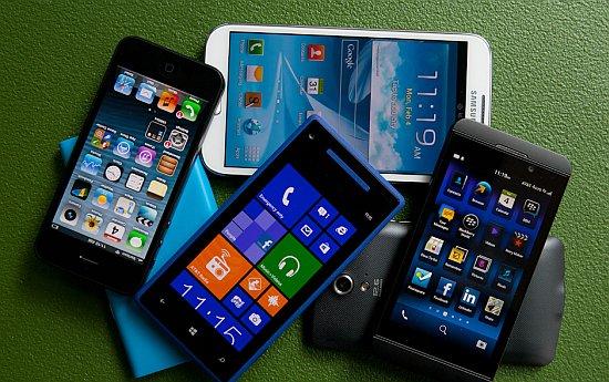 Stapeltje smartphones