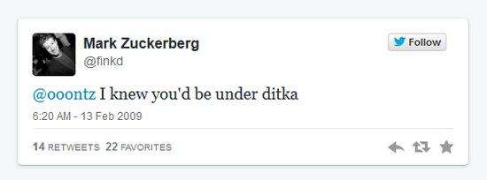 Mark Zuckerbergs eerste Tweet