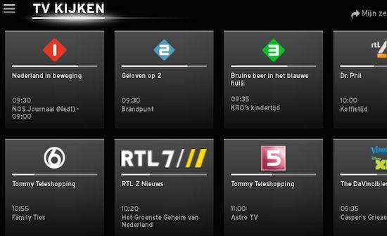 Screenshot van UPC's Horizon TV app voor Android