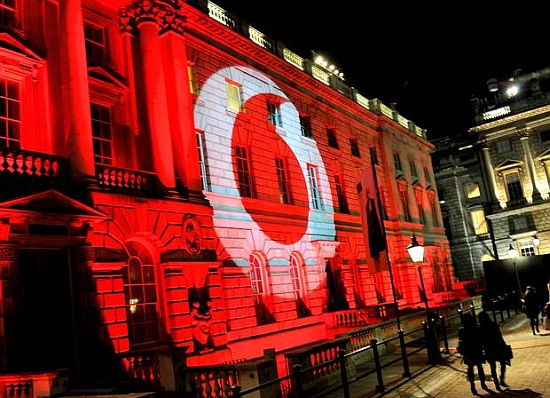 Vodafone logo projectie