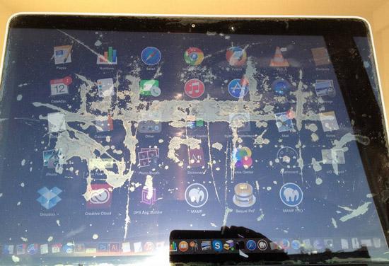 Apple-schermen ontbinden spontaan