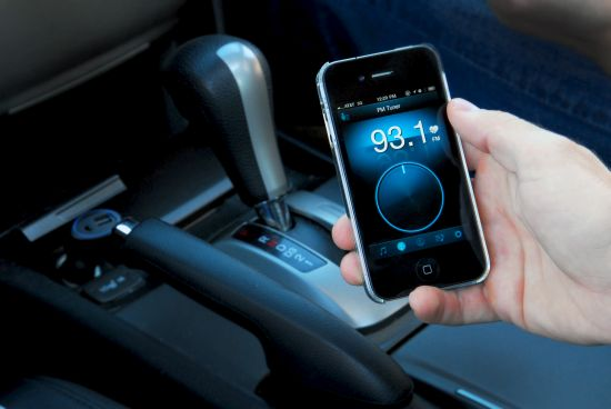 Telefoon in auto blauw
