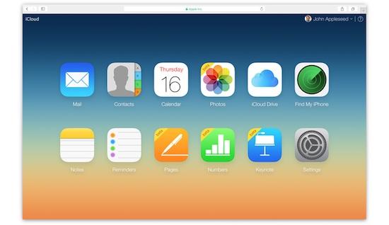 iCloud beginscherm