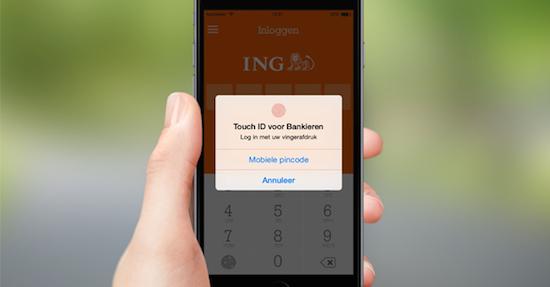 De ING-app voor iOS is al te openen met Touch ID