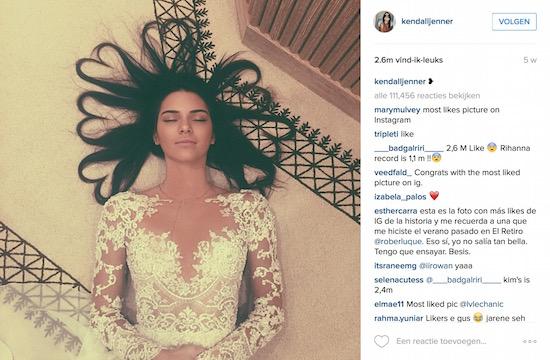 Kendall Jenner en haar populaire selfie