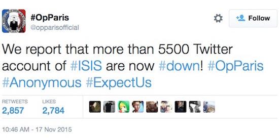 Anonymous sloopt ruim 5.500 Twitter-accounts van IS-strijders