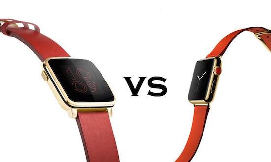 Wie ziet het verschil tussen de Apple Watch en de Pebble Time?