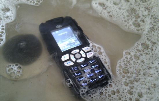 Phone schoonspoelen