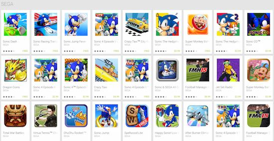 Mobiele games van Sega