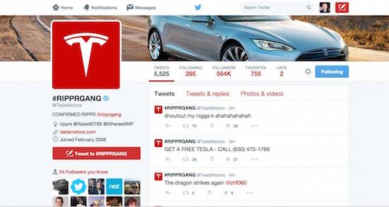 Twitter van Tesla gehacked