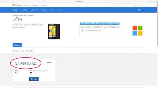 Lumia 520 bij Wallmart