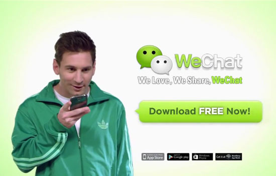 WeChat gebruikte Lionel Messi in zn reclames