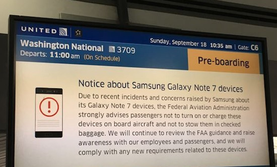 galaxy note 7 vliegtuig