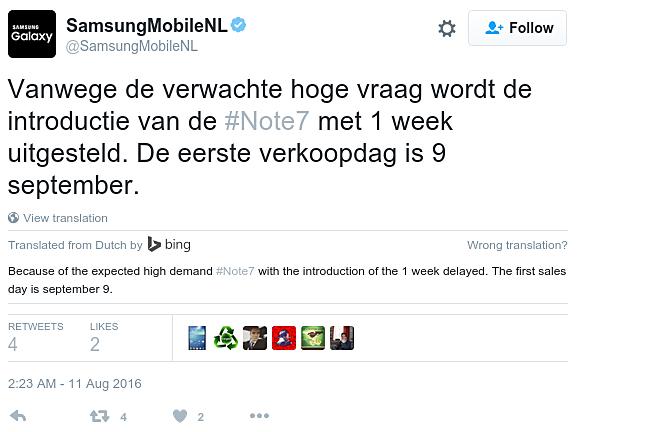 Galaxy Note 7 te laat