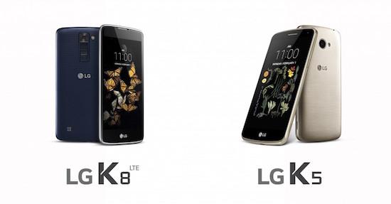 LG K8 en K5