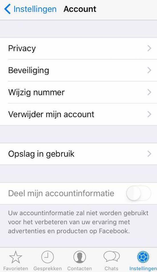 Whatsapp Facebook instelling
