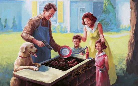 Lekker BBQ'en met een gezin en de hond. Uiteraard tot aan de tanden toe bewapend