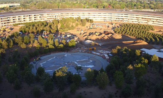De tuin van de Apple Campus