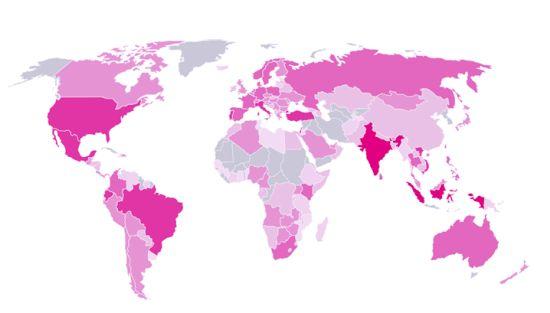 Landen die het meest geïnfecteerd zijn
