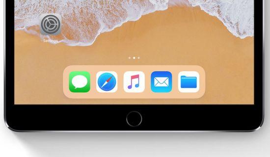 De balk zal gaan lijken op deze iOS 11 balk voor de iPad