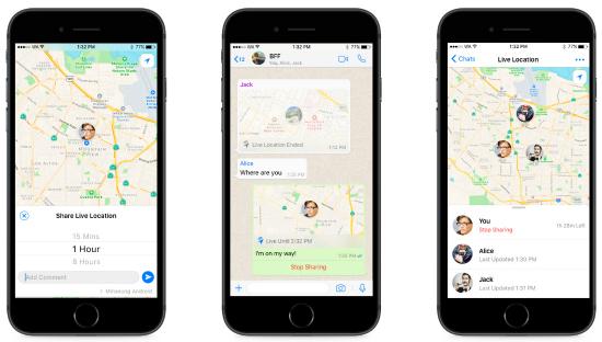 WhatsApp live locatie delen
