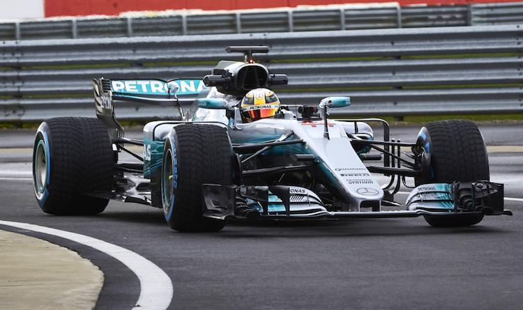 De Mercedes W08 van Hamilton