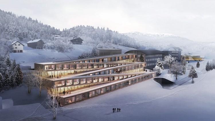 Ski van het dak van dit luxe hotel in Zwitserland