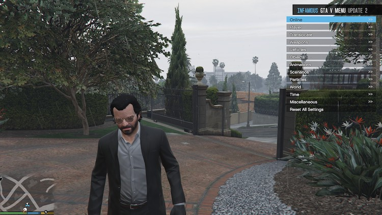 Het Infamous-menu in GTA V