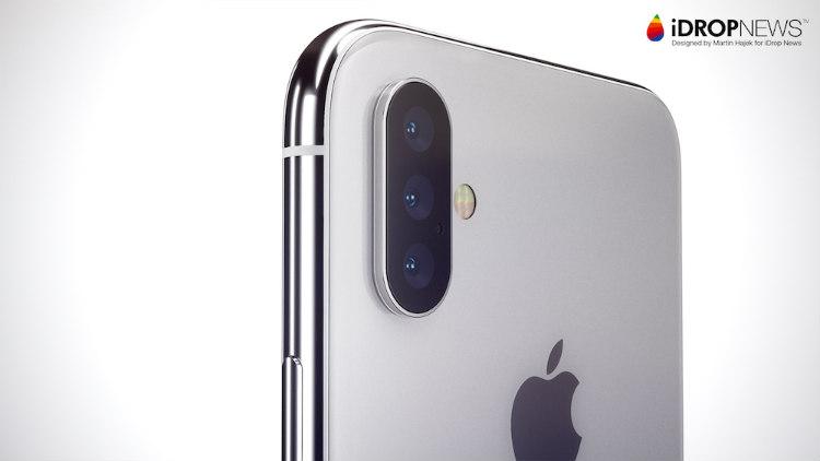 iPhone X 2019 met driedubbele camera concept