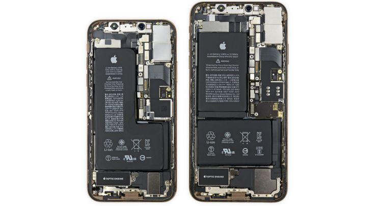 De bijzondere batterijen zijn in de teardown duidelijk te zien