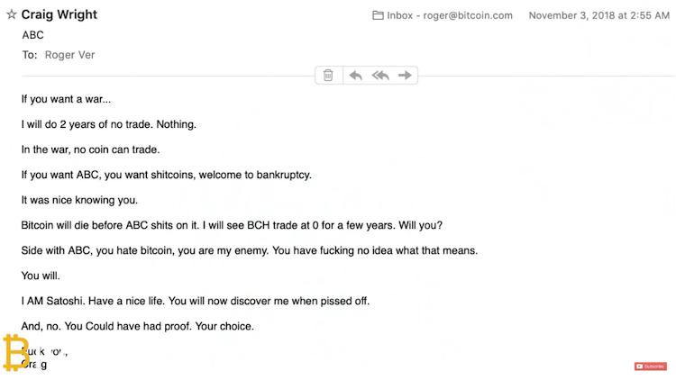 De mail van Wright aan Ver