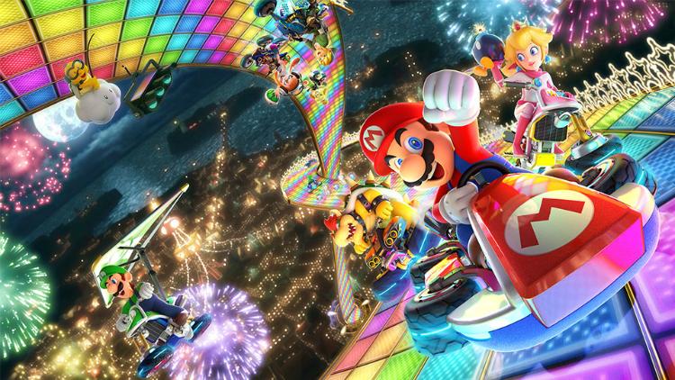 Racen in Mario Kart met karton