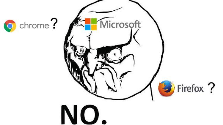 Windows 10 wil niet dat je Chrome of Firefox gebruikt