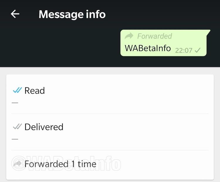 De nieuwe doorstuur-informatie in WhatsApp