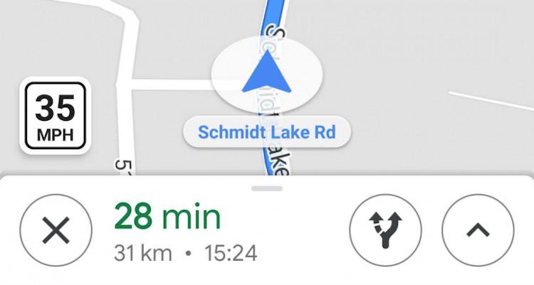 Google Maps geeft toegestane maximumsnelheid aan
