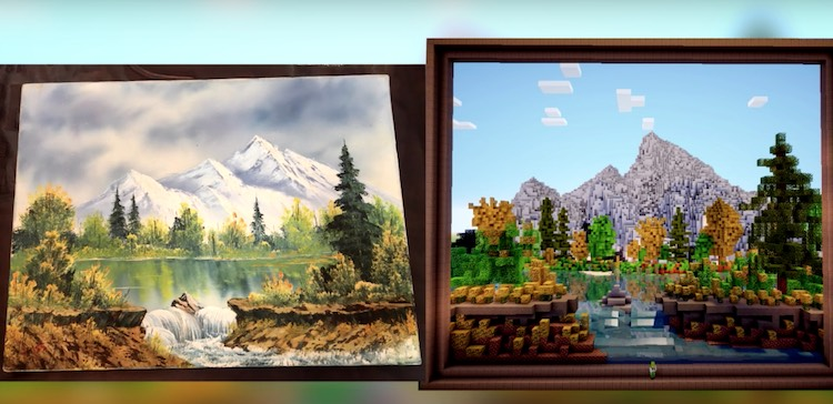 Gamer tekent Bob Ross-schilderij in Minecraft [video]