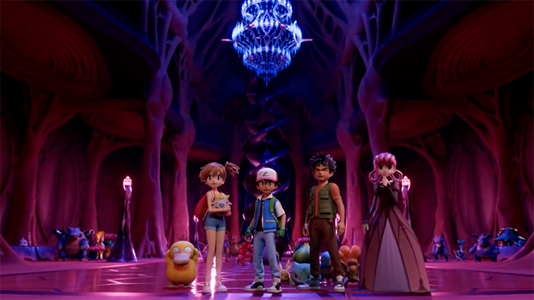 Misty, Ash en Brock in de remake van Pokémon de Film