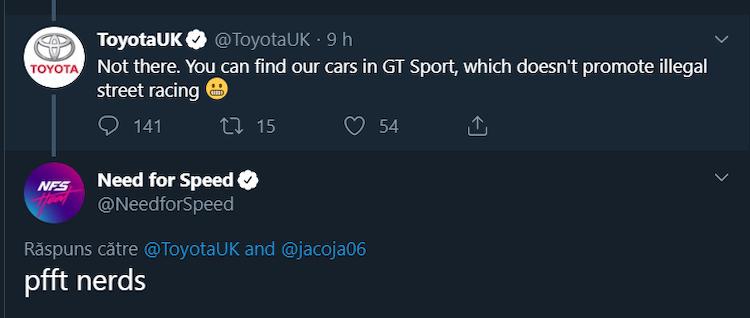 Toyota niet in Need for Speed vanwege 'illegaal straatracen'?